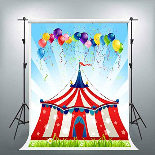 EARVO 5x7ft Red Circus Tent Backdrop for Themed Party YouTube Colorful Balloons Photography Background Cotton Backdrop Photo Shoot Props EAGE472 -