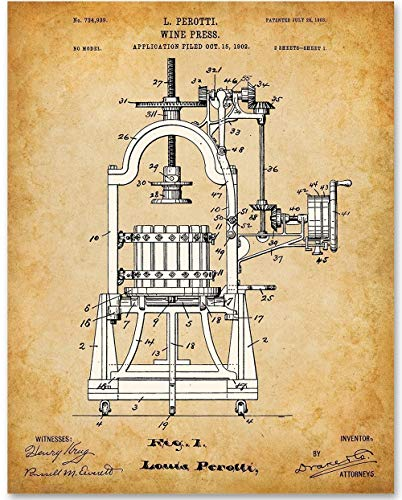 Wine Press - 11x14 Unframed Patent Print - Great Gift for Wine Lovers ()