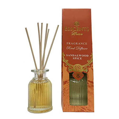 Esscents Home Elegant Reed Diffuser - 2.7 fl oz - Rose Geranium, Sandalwood Spice, Lavender Rosemary, Jasmine Tea, Morning Blossom, Ocean Breeze (Sandalwood ()