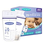 Lansinoh Breastmilk Storage Bags With Convenient Pour Spout and Patented Double Zipper Seal, Ideal for Storing and Freezing Breastmilk, 25 Count, BPA and BPS Free