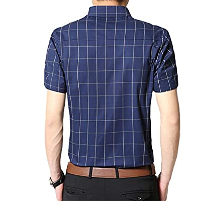 YIMANIE Mens Cotton Short Sleeve Dress Shirt Slim Fit Plaid Prints Button Down Shirts