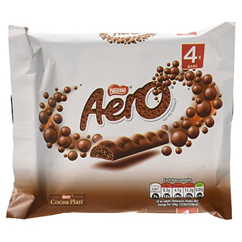 (Original Aero Milk Chocolate Bubbly Bar 4 Pack Imported From The UK England)