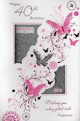 Glisten luxury 40th birthday card stand up 40 greeting cards female glisten luxury 40th birthday card stand up 40 greeting cards female pink butterfly her m4hsunfo
