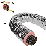 Toucan City Tape Measure and Master Flow 8 in. x 25 ft. Insulated Flexible Duct R8 Silver Jacket F8IFD8X300
