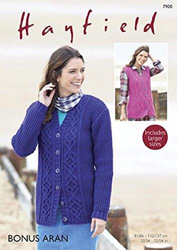 Hayfield Ladies Cardigan Waistcoat Knitting Pattern 7900 Aran