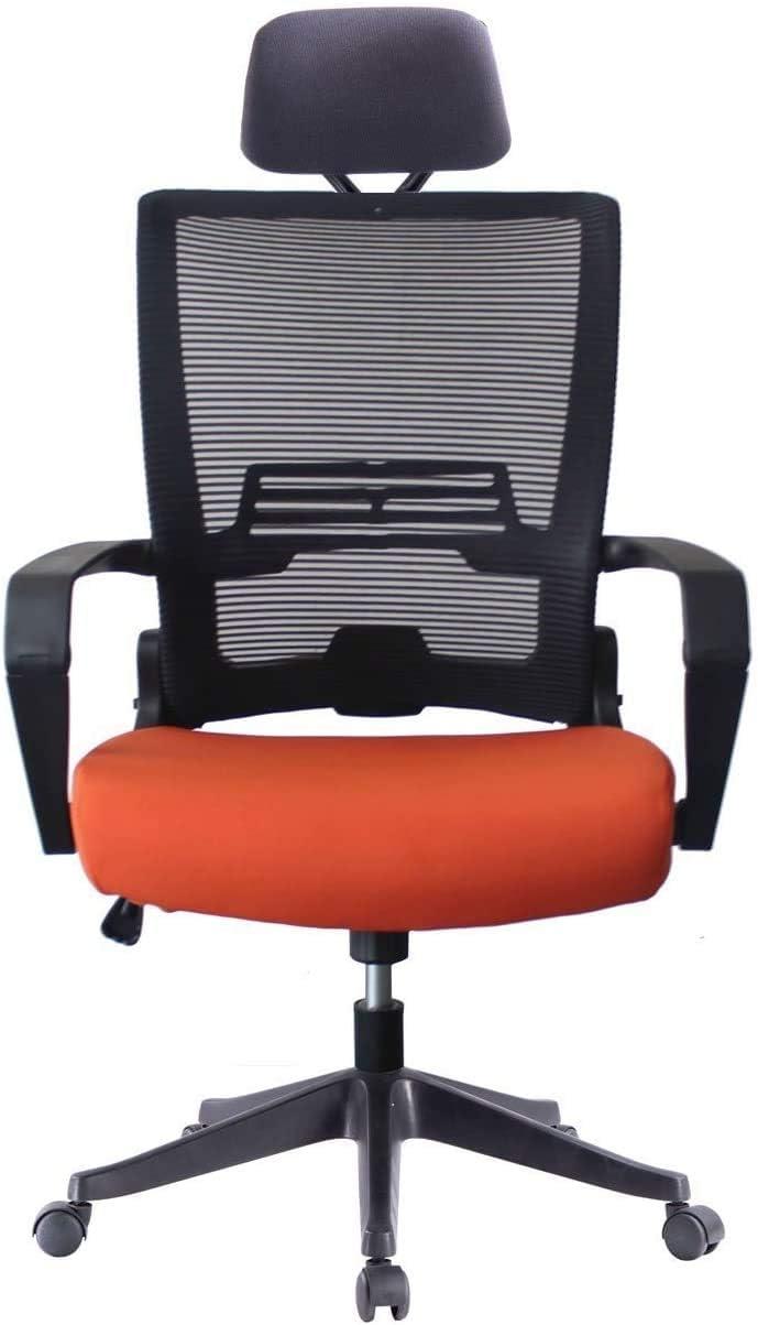 5 Minutes Completely Easy Installation Ergonomic Office Foldable Swivel Home Mesh Back Task Chair (Black/Orange W/Head Rest)