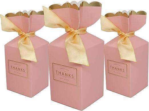 50PCS Happy Wedding Party Candy Box Ribbon Laser Cut Favors Gift Paper Bag Box