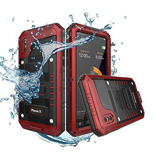 力学第行為Waterproof Shockproof Case for Iphone Xは、防水ジャケットを耐震性、IP68ヘビーデューティーハイブ リッド頑丈な防塵金属ケース、スクリーン爆発防止ガラス繊維、アウトドアスポーツ、サーフスキー、ダ イビング (赤)