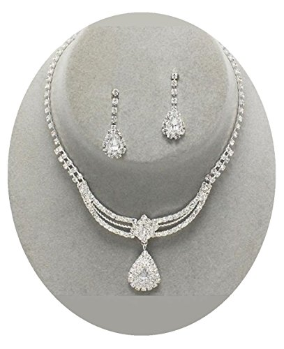 Crystal Necklace Set Silver Fashion Jewelry Boxed (#5) (Silver)