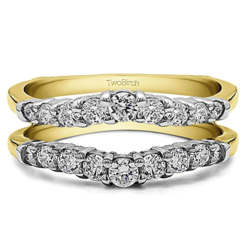 (TwoBirch 0.71 Ct. Double Shared Prong Contoured Ring Guard (in 10k Two Tone Gold size 13) with Diamonds (G,I2))