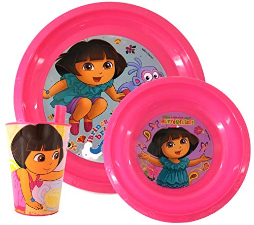 (Nickelodeon Dora The Explorer Kids Dinnerware Sets 3 Piece Girl - Set Includes Plate, Bowl and Cup )