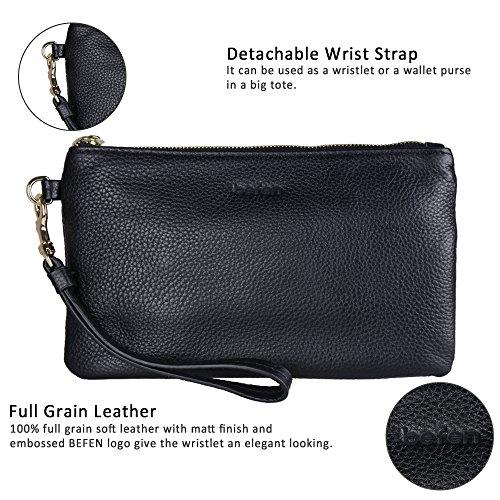 Befen Women Genuine Leather Clutch Wallet, Smartphone Wristlet Purse - Black by befen (Image #3)