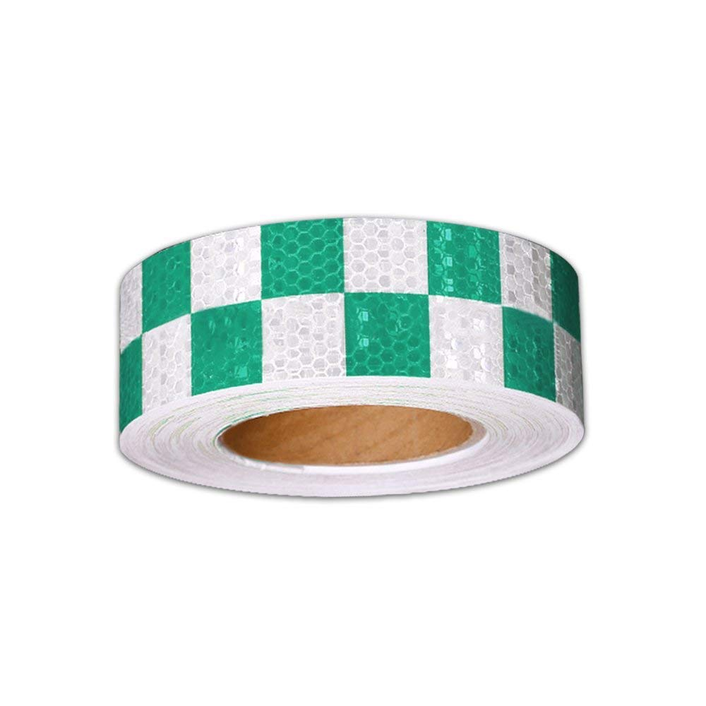 Reflective Hazard Tape Checkered Shape Caution Warning Tape Red Fluorescent Green Square Types 2/″/×16.4/′3 PCS