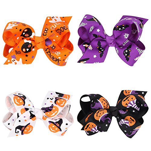 (Love Sweety Baby Rose Halloween Headband Infant Pumpkin Hairband Bow Hair Clips (4pc clips))