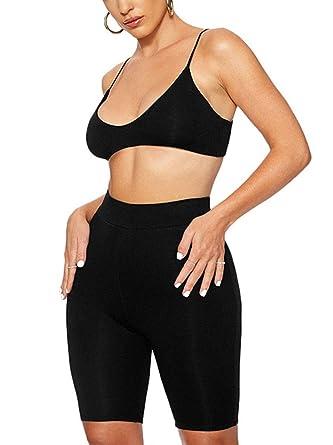 4de1d667 Succi Womens Spaghetti Strap Tank Crop Top High Waist Legging Shorts 2 Piece  Tracksuits Outfits Bodycon