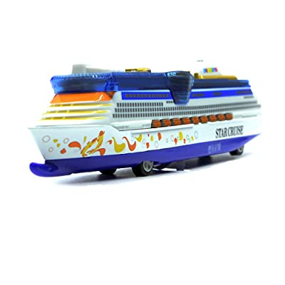 Ailejia 1:1000 Alloy Cruise Ship Models Back to Power Functions Boy Toy Music, Lights, Yacht Model (Blue 1): Toys & Games
