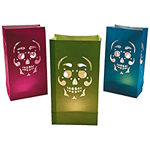 Fun Express – Day Of The Dead Luminary Bags (dz) for Halloween – Party Supplies – Bags – Paper Treat Bags – Halloween…