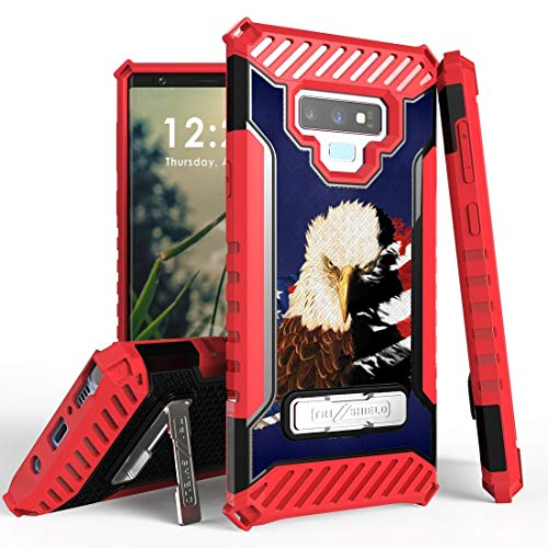 Beyond Cell TriShield Series Compatible with Samsung Galaxy Note 9 Case Military Grade Drop Tested Cover and Atom Cloth - American Patriot Eagle from Bemz Depot