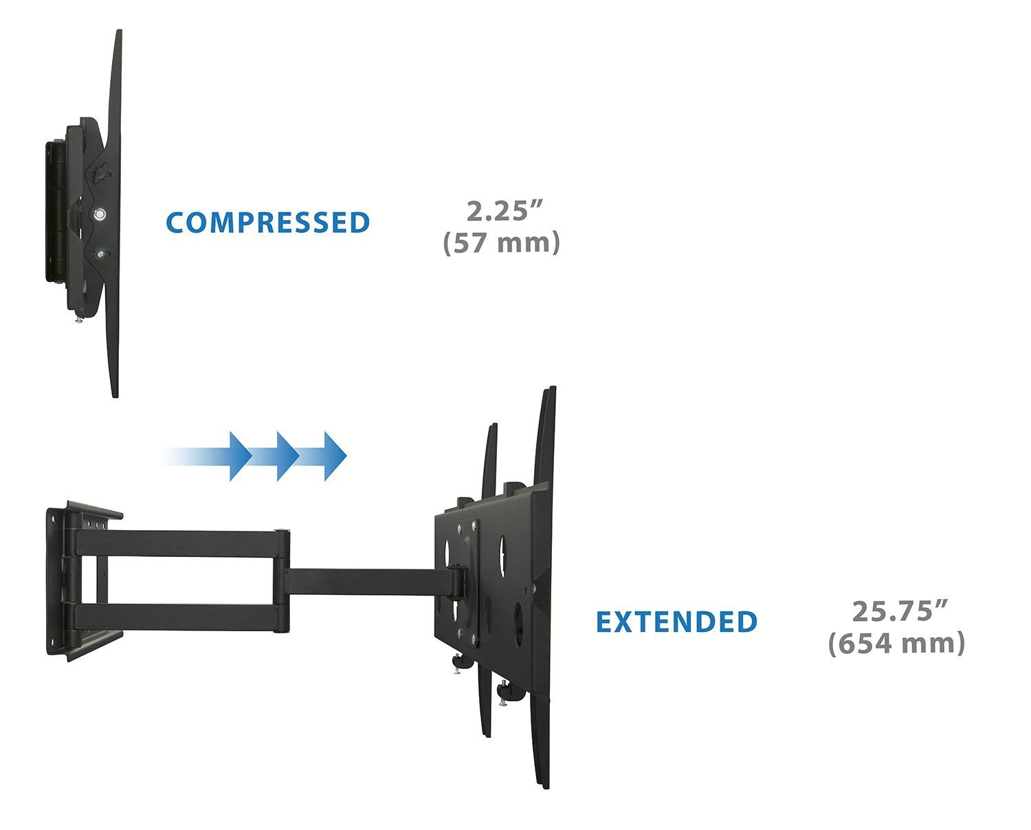 Mount-It! Long Arm TV Wall Mount With 26 Inch Extension, Swing Out Full Motion Design for Corner Installation, Fits 40 50, 55, 60, 65, 70 Inch Flat Screen TVs, 220 Pound Capacity by Everstone (Image #6)