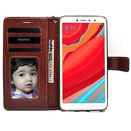 premium selection 9f381 1834c Bracevor RDY2ELLCBR Leather Flip Case Cover for Redmi Y2 (Executive Brown)