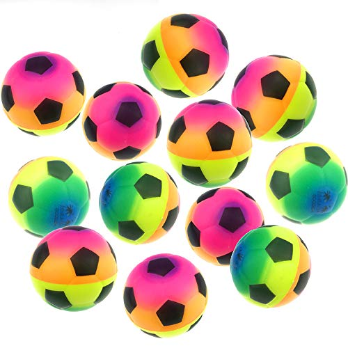 Akusety Mini Sports Stress Balls Rainbow Soccer Balls Fun, 12-Pack Foam Ball 2.5