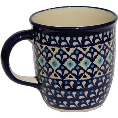 Polish Pottery Mug 12 Oz. From Zaklady Ceramiczne Boleslawiec #1105-217a Classic Pattern, Capacity: 12 Oz.