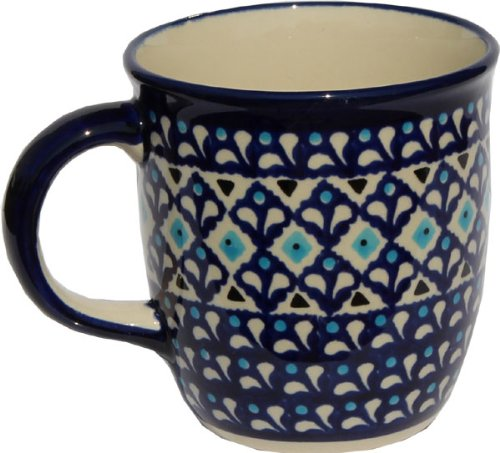 Polish Pottery Mug 12 Oz. from Zaklady Ceramiczne Boleslawiec #1105-217a Classic Pattern, Capacity: 12 Oz. (Mug Polish Large Pottery)