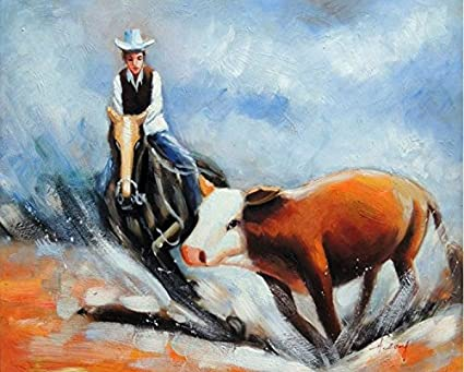 Amazon Com 100 Hand Painted Cutting Horse Cowboy Wild