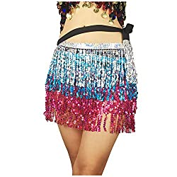 Belly Dance Hip Scarf In Silver, Pink & Blue Seuins