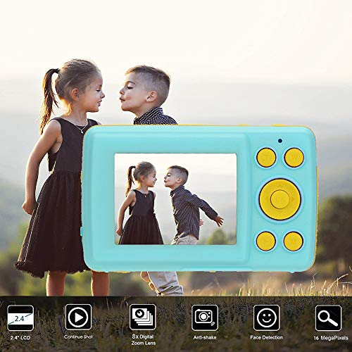 Tuscom 2.4HD Screen Digital Camera,Anti-Shake Face Detection Smile Capture Continue Shot,Multi-Language Optional for Kids Friend Gift (Blue)