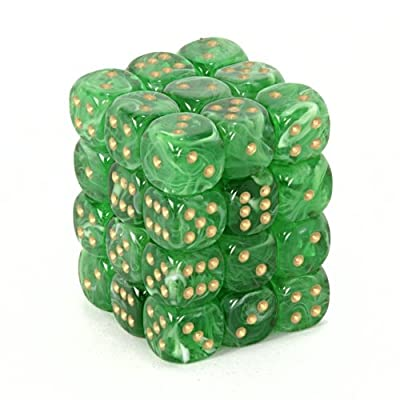 Chessex Dice d6 Sets: Vortex Green with Gold - 12mm Six Sided Die (36) Block of Dice: Toys & Games