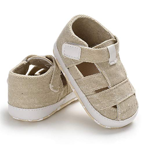 Meckior Summer Baby Infant Boys Sandals Canvas Soft Sole Non-Slip Closed Toe First Walkers Shoes (0-6 Months, ()