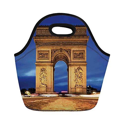 (Paris Decor Durable Lunch Bag,Arc de Triomphe Paris France at Night. View from Avenue des Champs Elysees for School Office,11.0