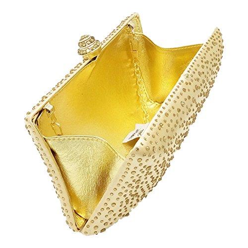 Clutch Noble Rhinestone Ladies Party Dress Wedding Pillow MSFS Handbag Evening Gold Shoulder w7qACC5