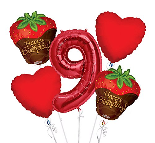 Strawberry Chocolate Balloon Bouquet 9th Birthday 5 pcs - Party Supplies