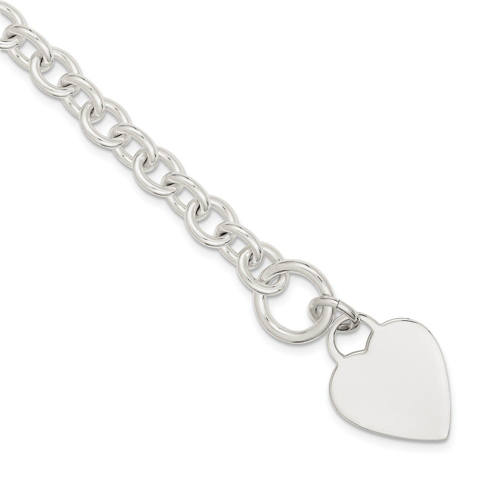 925 Sterling Silver Engraveable Heart Disc On Link Toggle Bracelet 8.75 Inch Charm W/charm/love Fine Jewelry Gifts For Women For Her by ICE CARATS