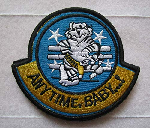 F-14 Tomcat Anytime Baby 3D Tactical Military Badges Embroidered Patch Back with Loops and Hook ()