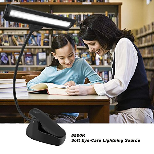 CeSunlight Clip on Reading Light, Rechargeable Battery Operated Book Light, Portable Music Stand Lights, LED Desk Lamp with Good Eye Protection Brightness by CeSunlight (Image #1)