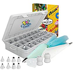 Cake Decoration Tips-50 Piece-The ONLY KIT With BONUS Reusable Silicone Bag-X2 Coupler-X10 Disposable Icing Bag-EBook. EASY TO SET & USE-Baking Tool Supply. Professional Icing Tips-Piping Cake Nozzle