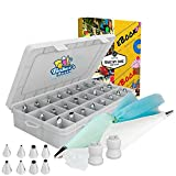 Baker's dozen Cake Decorating kit tools supplies.The Only 50 pcs bakery supplies with Reusable Silicone Bag-X2 Coupler-X10 Disposable Icing Bag-eBook.Easy to use baking kit and baking accessories.