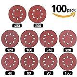 Hilitchi 100-Pcs Sanding Discs Sandpaper Hook and Loop Pads for Circular Sander Grits Sanding Sheets 10 Sizes - 40/60/80/100/120/180/240/320/400/800 Grits