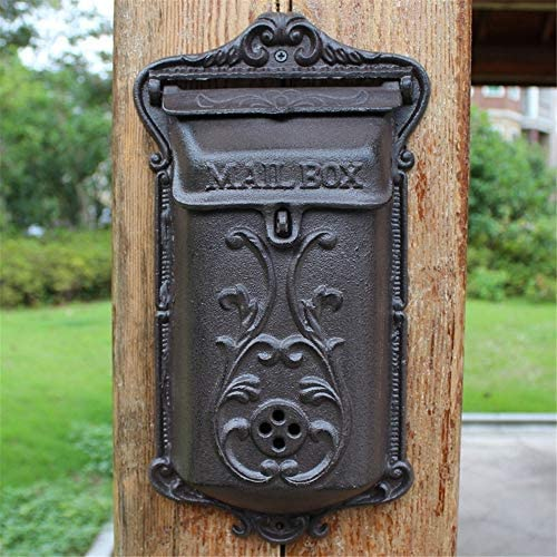 メールボックス メールボックスの庭の装飾のために文字スタンプを壁に取り付けられた新聞ヨーロッパアイアンレトロレターボックスをキャスト 手紙を受け取るため (Color : As Shown, Size : 20.5x37x8cm)