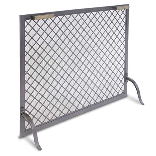 (Pilgrim Home and Hearth 18317 Stanton Single Panel Fireplace Screen, Natural Iron, 39