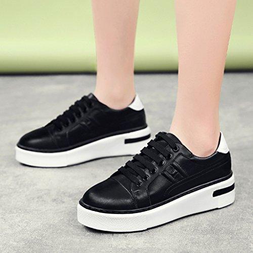 Bas Femmes Hwf Casual Étudiant forme Simples Sport Printemps Couleur 35 Femme Taille Blanc Plate Noir Chaussures Épais Plate wqw0PH