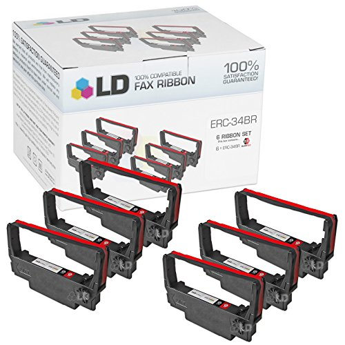LD © Compatible Epson ERC-34BR Set of 6 Black and Red Ribbons for use in Epson TM-U220A TM-U220B & TM-U220D