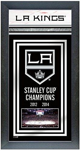 """Los Angeles Kings 2014 Stanley Cup Champions Team Banner Photo (Size: 14.5"""" x 27.5"""") Framed"""