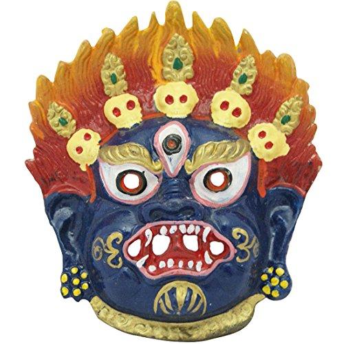 (Divya Mantra Traditional Nazar Katta Mahakal Evil Eye Protector Vastu Wall Hanging Mount/Tibetan Buddhism Feng Shui Art Antique Decorative Metal Sculpture Face Mask)
