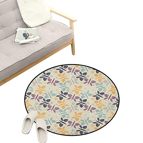 Butterfly Round Rugs ,Pastel Colored Spring Time Inspired Pattern Butterfly Silhouettes and Blossoms, Design Home Decoration 23