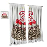 homefeel 35th Birthday Window Curtain Fabric Gourmet Dessert Cherry Cake Pie for Party Special Day Age Thirthy Five Decor Curtains by W84 x L96 Red Brown White