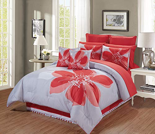 - 12 - Piece Coral Orange, Grey, White Hibiscus Floral Bed-in-a-Bag Queen Size Bedding + Sheets + Accent Pillows Comforter Set